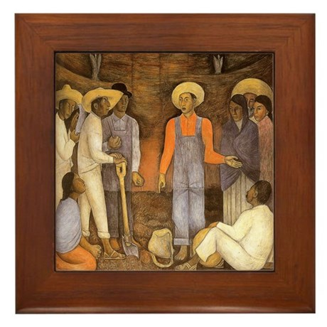 Diego Rivera Agrarian Movement Art Framed Tile