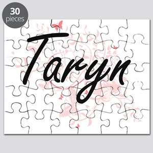 Taryn Artistic Name Design with Butterflies Puzzle