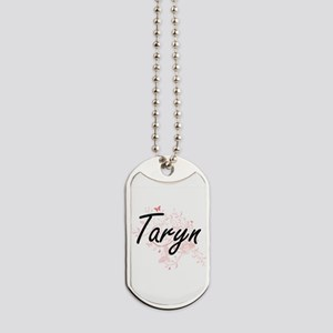 Taryn Artistic Name Design with Butterfli Dog Tags