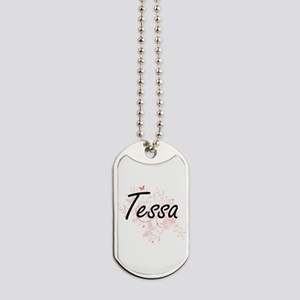 Tessa Artistic Name Design with Butterfli Dog Tags