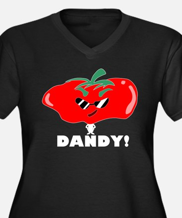 Dandy Tomato Women's Plus Size V-Neck Dark T-Shirt