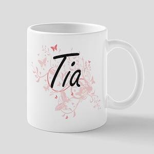 Tia Artistic Name Design with Butterflies Mugs
