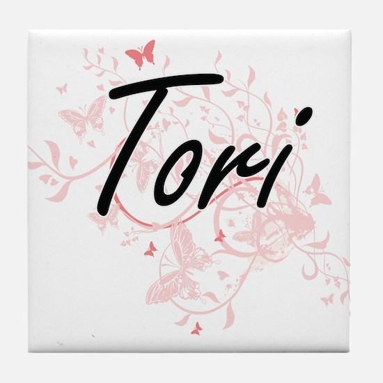 Tori Artistic Name Design with Butter Tile Coaster