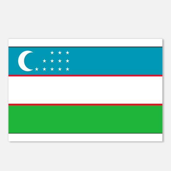 Uzbekistan Blank Flag Postcards (Package of 8)