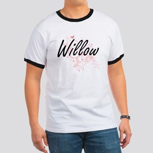 Willow Artistic Name Design with Butterfli T-Shirt