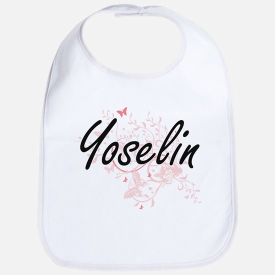 Yoselin Artistic Name Design with Butterflies Bib