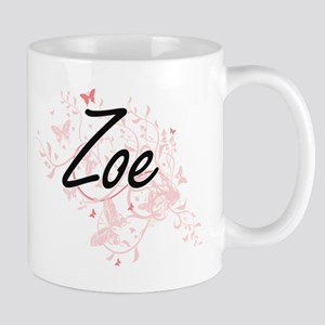 Zoe Artistic Name Design with Butterflies Mugs