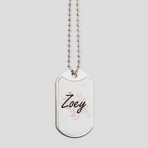 Zoey Artistic Name Design with Butterflie Dog Tags