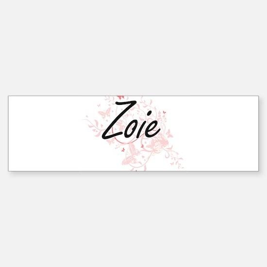 Zoie Artistic Name Design with Butt Bumper Bumper Bumper Sticker