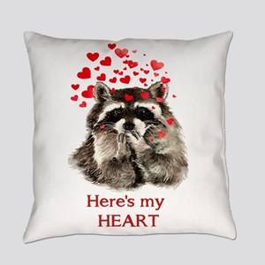 Here's My Heart Cute Raccoon Everyday Pillow