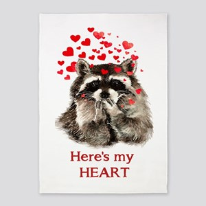 Here's My Heart Cute Raccoon Blowing 5'x7&