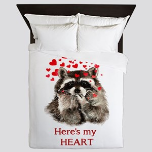 Here's My Heart Cute Raccoon Blowing Queen Duv
