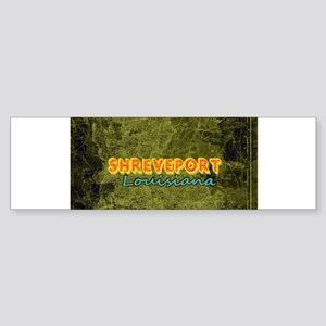 SHREVEPORT Gold Red Emerald Map Bumper Sticker