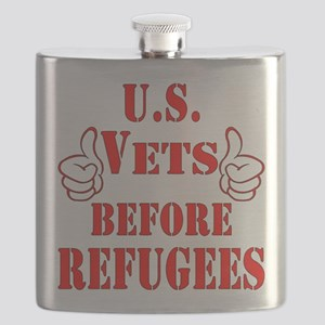 US Vets Before Refugees Flask