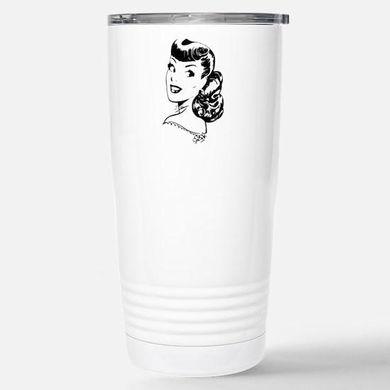 Vintage Girl Stainless Steel Travel Mug