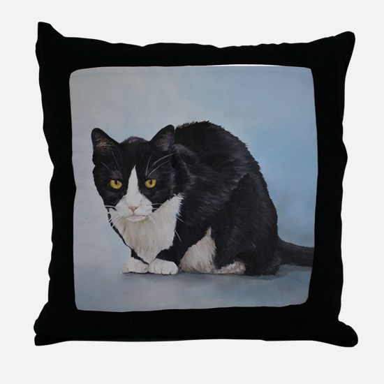 Cute Domestic shorthaired cat Throw Pillow