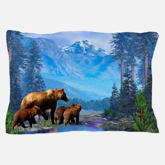 Mountain Grizzly Bears Pillow Case