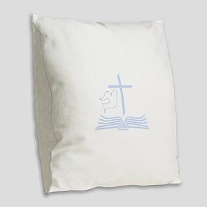 Dove Cross & Bible Burlap Throw Pillow