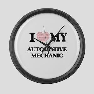 I love my Automotive Mechanic (He Large Wall Clock