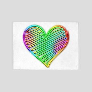 Heart Love Neon Rainbow Colors 5'x7'Area Rug