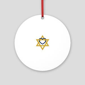 Star Of David Heart Round Ornament