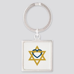 Star Of David Heart Keychains
