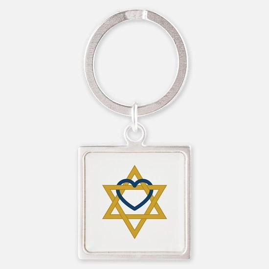 Star Of David Heart Keychains