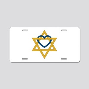 Star Of David Heart Aluminum License Plate