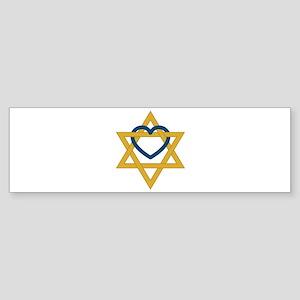 Star Of David Heart Bumper Sticker