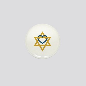 Star Of David Heart Mini Button