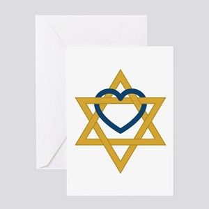 Star Of David Heart Greeting Cards