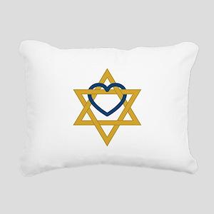 Star Of David Heart Rectangular Canvas Pillow