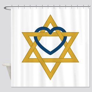 Star Of David Heart Shower Curtain
