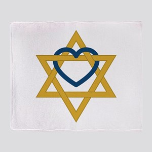 Star Of David Heart Throw Blanket