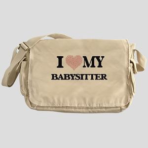 I love my Babysitter (Heart Made fro Messenger Bag
