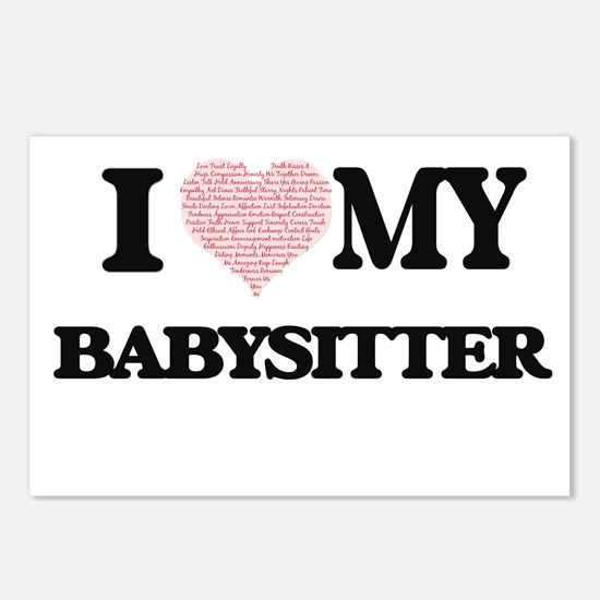I love my Babysitter (Hea Postcards (Package of 8)