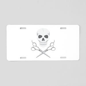 Skull Scissors Aluminum License Plate