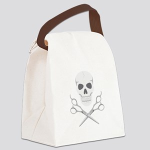 Skull Scissors Canvas Lunch Bag