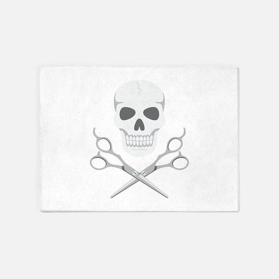 Skull Scissors 5'x7'Area Rug