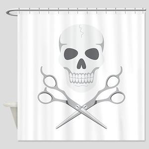 Skull Scissors Shower Curtain
