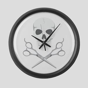 Skull Scissors Large Wall Clock