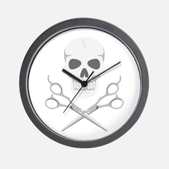 Skull Scissors Wall Clock