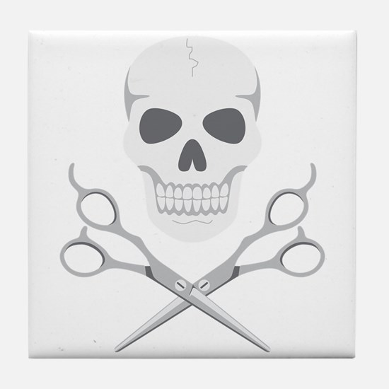 Skull Scissors Tile Coaster