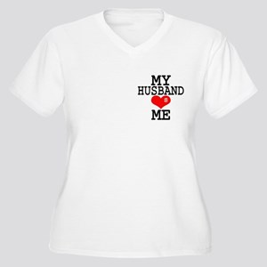 """Official """"the HusBand"""" Women's Plus Size V-Neck T-"""