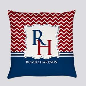 Navy and red Chevron Custom Monogr Everyday Pillow