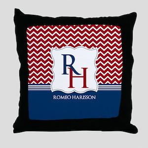 Navy and red Chevron Custom Monogram Throw Pillow