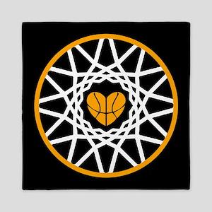 Love Heart Rim Net Basketball Art Queen Duvet