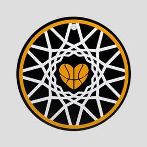 Love Heart Rim Net Basketball Art Round Ornament