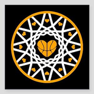 "Love Basketball Heart Ho Square Car Magnet 3"" x 3"""