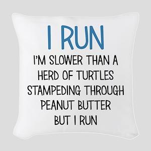 I RUN Woven Throw Pillow